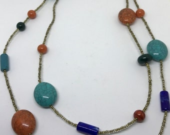 Adjustable 44'' Turquoise glass, Coral necklace with gold glass beads.