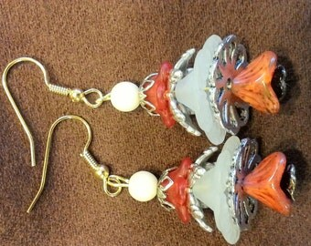 earthy tones bell flower earrings
