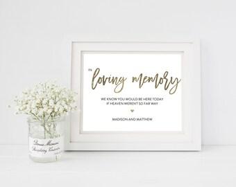 Wedding Sign Template   Loving Memory Sign   Wedding Sign   Printable Wedding Sign   5x7 & 8x10   EDN 5448