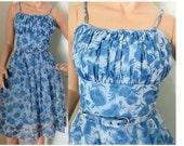 SALE! Vintage 1950s light blue floral chiffon summer sun dress small 240