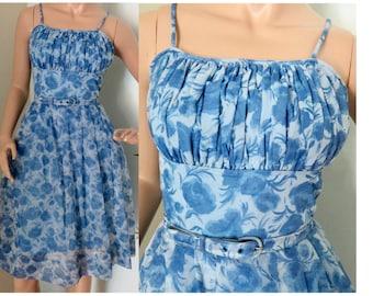 Vintage 1950s light blue floral chiffon summer sun dress small 240