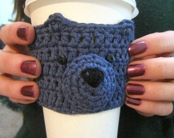 Blue Bear Cup Cozy, Cup Cosy, Mug Warmer, Coffee Cozy, Coffee Sleeve, Mug Cosy, Cute Gift, Gift Idea, Gift for Coffee Lover, Cup Holder