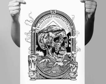 A3 FOURTH RITUAL - Art Print - Human Skull - Rough Sea - Intricate Illustration - Dotwork Linedrawing - Dark Art - Tattoo - Blackwork