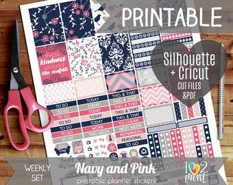 Navy & Pink Weekly Printable Planner Stickers, Erin Condren Planner Stickers, Weekly Stickers, Vertical Erin Condren, Cut files