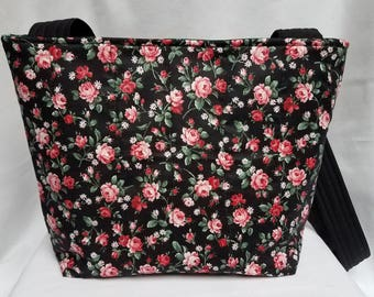 Pink & Red Roses Quilted Tote Bag