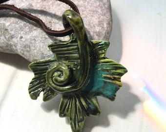 Leaf pendant green turquoise swirl
