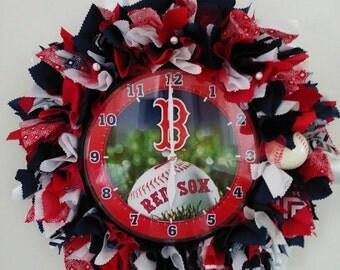 Boston Red Sox Clock Wreath - Boston Red sox fans - Boston red sox home decor- Boston red sox gifts