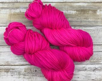 Frothy Bulky Weight | Hand Dyed Yarn | Superwash Merino Wool | 100 g. | Hot Pink