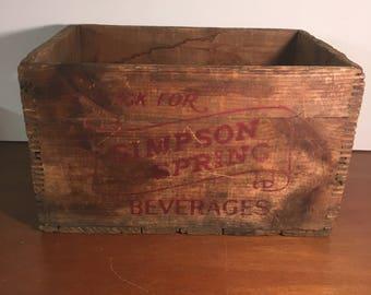 Wood Crate Vintage Simpson Springs Beverage Crate Vintage Wooden Crate  Beverages Crate Bottling Dovetailed Wooden Crate - Beverage Crates
