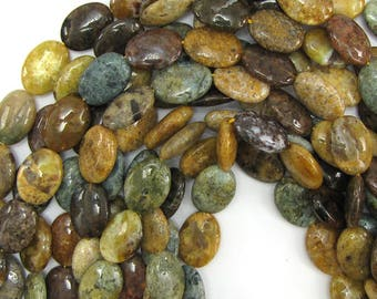 "18mm mottle green brown agate flat oval beads 15.5"" strand 12862"