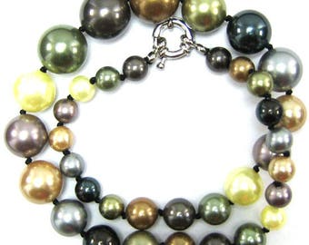 "8-16mm multicolor shell pearl round beads necklace 18"" 33913"