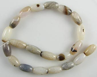 "15-17mm burst fire agate barrel beads 14"" strand 12996"