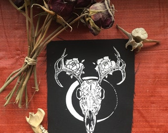 Skull Roses Antlers & Moon patch