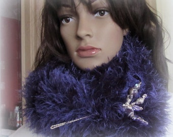 Hand Knitted Infinity Scarf Faux Fur - Amethyst