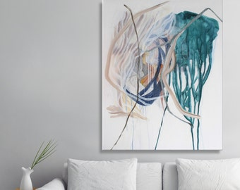 """Extra large wall art canvas, large painting, Acrylic Painting on Canvas, large abstract wall art modern home decor, Green Painting 31x39"""""""