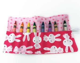 Crayon Holders - Bunnies - Crayola Crayons - New Mother Gift - Mother's Day Gift - Coloring Supplies - Party Favor - Car Trip - Baby Shower