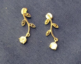SILPADA® Retired Floral Leaves Zirconia Drop Silver Post Earrings (P0973) (LdR)