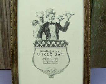 Antique 1918 UNCLE SAM Cream of Wheat Advertising Print Ad Under Glass in Vintage Frame
