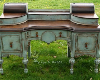 FREE SHIPPING Blue antique shabby chic chalk painted distressed vanity desk, antique shabby chic lady's desk dressing table, mahogany desk