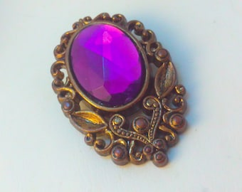 Upcycled, kitsch, 1980s earring pin, handmade pin, handmade jewelry, pin, kitsch pin, purple pin, upcycled pin, statement pin, upcycled pin,