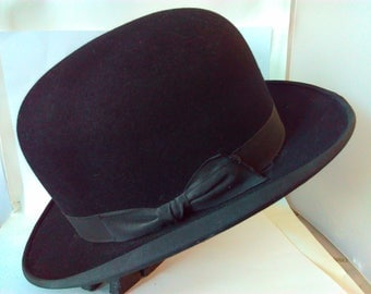 Vintage, small, size 6 3/4, 55cm, bowler hat, British made bowler hat, vintage bowler hat, steampunk, steampunk bowler hat, small bowler hat