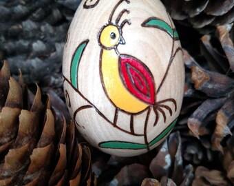 Wooden Easter Egg - Wood Burned Design - Colorful Bird