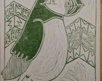 Linoprint - The Irish Puffin