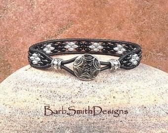 Black Wrap Bracelet-Beaded Leather Bracelet-Black Silver Bracelet-Slender Bracelet-Southwest-Boho-Custom Sizes-Skinny One in Black n' Silver