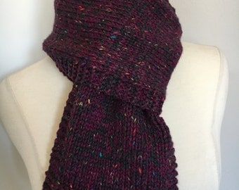 Knitted Classic Long Purple Tweed Scarf