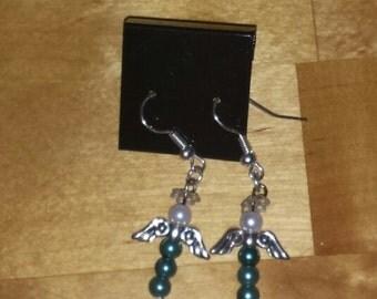 Angel Blue Glass Pearl  Earrings