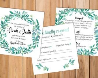 Printable Wedding Invitations, Wedding Invitation Set, Watercolour Wedding Invitations, Wedding Invites