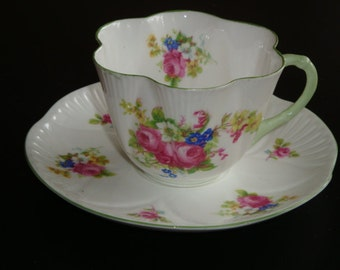 Shelley Dainty HULMES ROSE Tea Cup and Saucer #12240