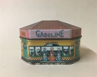 """Retro Ian Logans 'Filling Station"""" Tin- Gasoline- 1983 Made in England"""