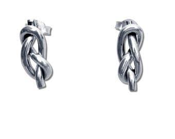 Sterling Silver Infinity Knot Stud Earrings, Sailor Knot Earrings, Nautical Stud Earrings, Friendship Knot Earrings, Classic Knot Earrings