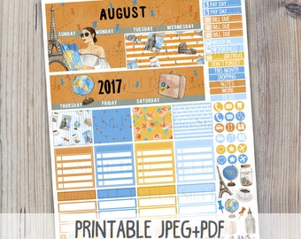 August monthly printable planner stickers for Erin Condren LifePlanner TM watercolor instant download august summer vacation monthly kit