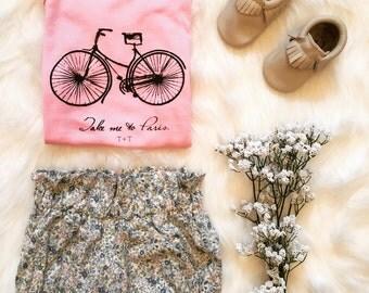 Take Me to Paris with Bicycle Pink Onesie