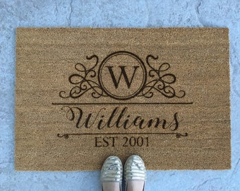 Personalized Welcome Mat - Monogram Door Mat - Custom Welcome Mat - 'Williams' Style