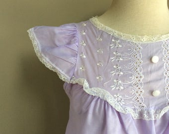 1960's Lilac Cotton Babydoll / 60s Lavender Purple Nightie / 1960's Antique Mid-Century  Lounge / 60's True Vintage Boho / Gifts For Her