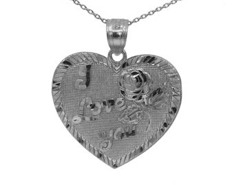925 Sterling Silver I Love You Heart Necklace