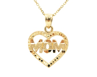 10k Yellow Gold Heart Mom Necklace