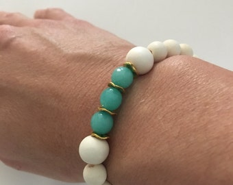White Boho Bracelet, beaded, aqua, neutral, ivory, stretchy