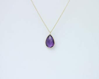 """Pear Shaped Amethyst Necklace Set In 14K Yellow Gold 16"""""""