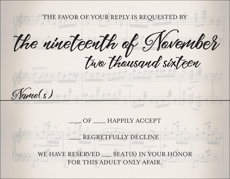 Musical Wedding Invitation Set Printed Sheet Music