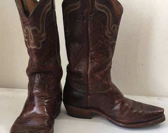 Brown men's boots from real leather with embroidery, vintage style western boots cowboy boots old boots retro boots men's size - 9-9 1/2.
