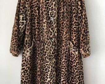 Leopard Print Patchy Velvet Faux Fur Coat Brown-Black Vintage Style Woman Size Medium.