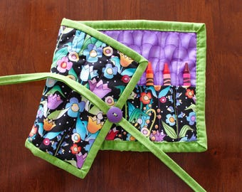 Purple Floral Crayon Holder, Purple Crayon Roll Up, Flower Crayon Roll, Girl Crayon Holder, Handmade, Green Crayon Tote, Crayon Roll Up