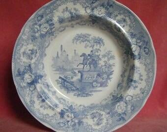 Antique Victorian Grecian Statue Romantic Staffordshire Blue Transferware Soup Plate
