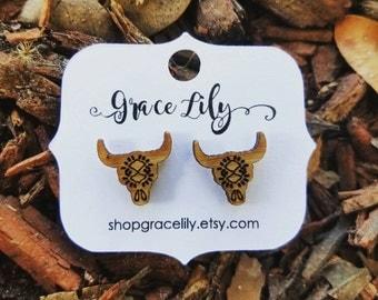Steer head stud earrings