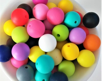 Beads 15mm COLOURS STRONG mezclados-Collares of lactation-jammers silicone silicone - 15mm Silicone beads assorted HOT Colors
