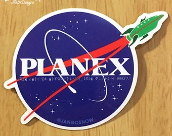PlanEx NASA logo sticker - Planet Express sci-fi space parody mashup geeky nerdy stickers slaps